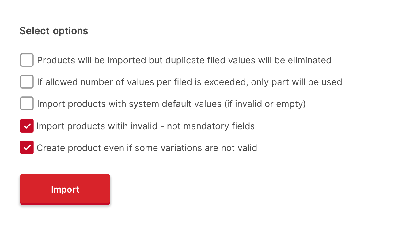 Available options after CSV document is scanned by Smart Importer